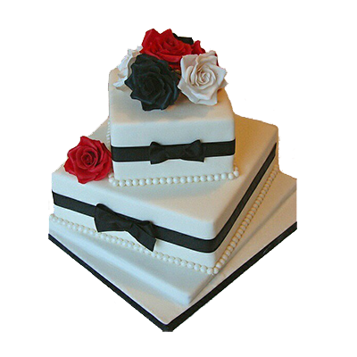 Black And White Bow Cake